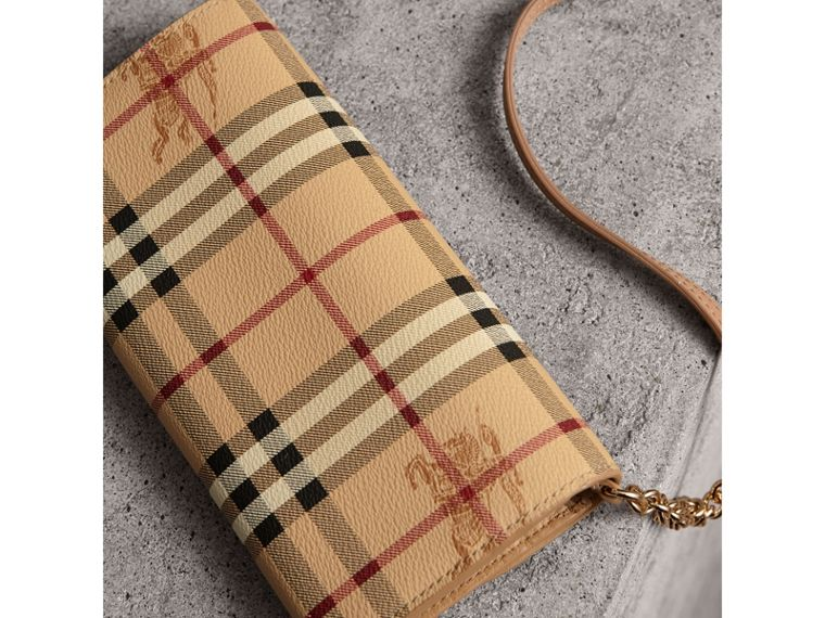 Leather Trim Haymarket Check Wallet with Chain in Mid Camel - Women | Burberry - cell image 4