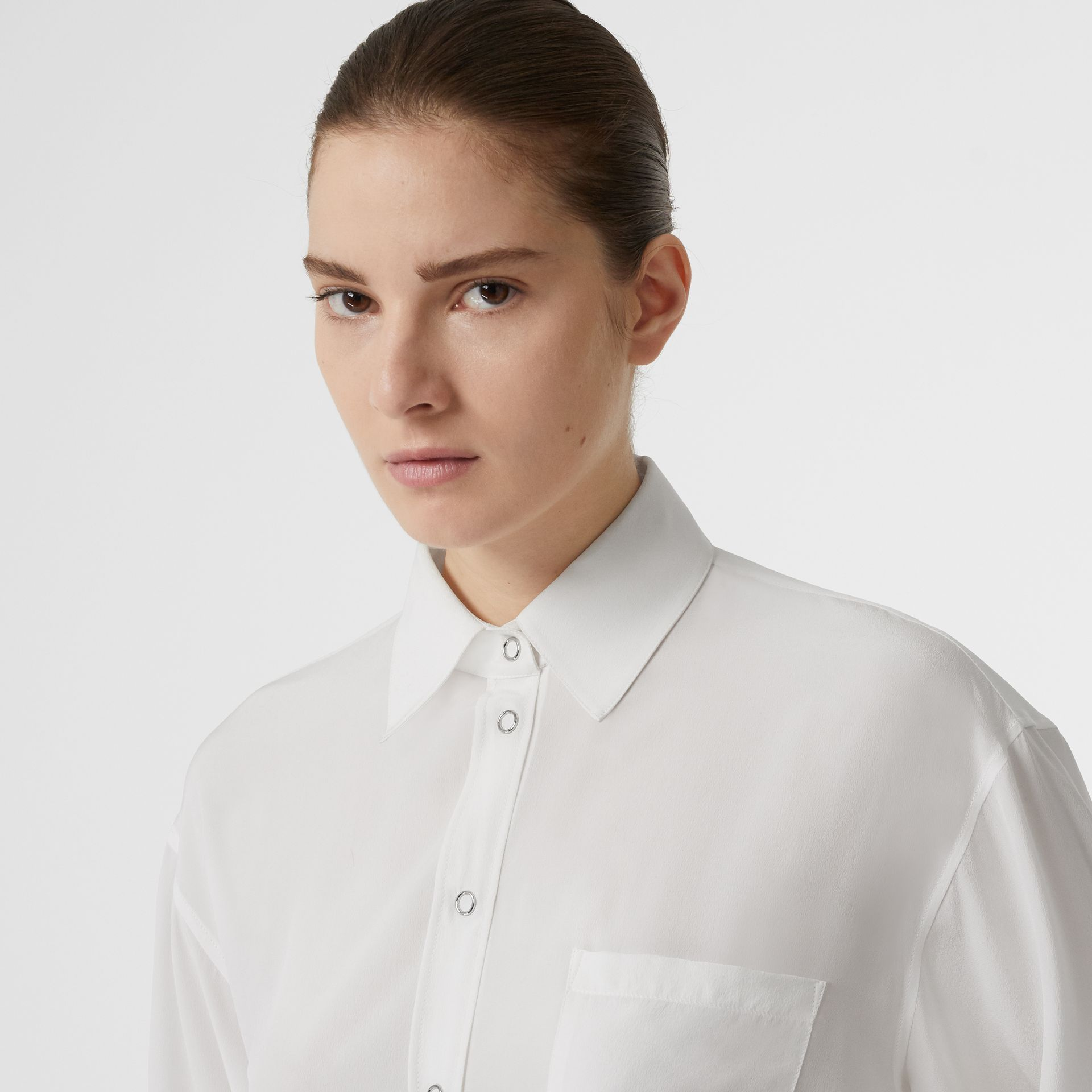 Press-stud Silk Crepe De Chine Oversized Shirt in White - Women | Burberry - gallery image 1