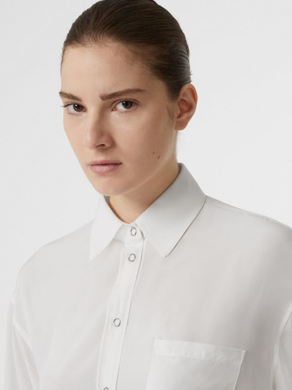 Press-stud Silk Crepe De Chine Oversized Shirt in White - Women | Burberry - cell image 1