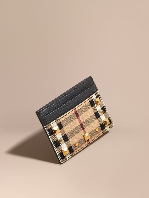 Riveted Haymarket Check and Leather Card Case