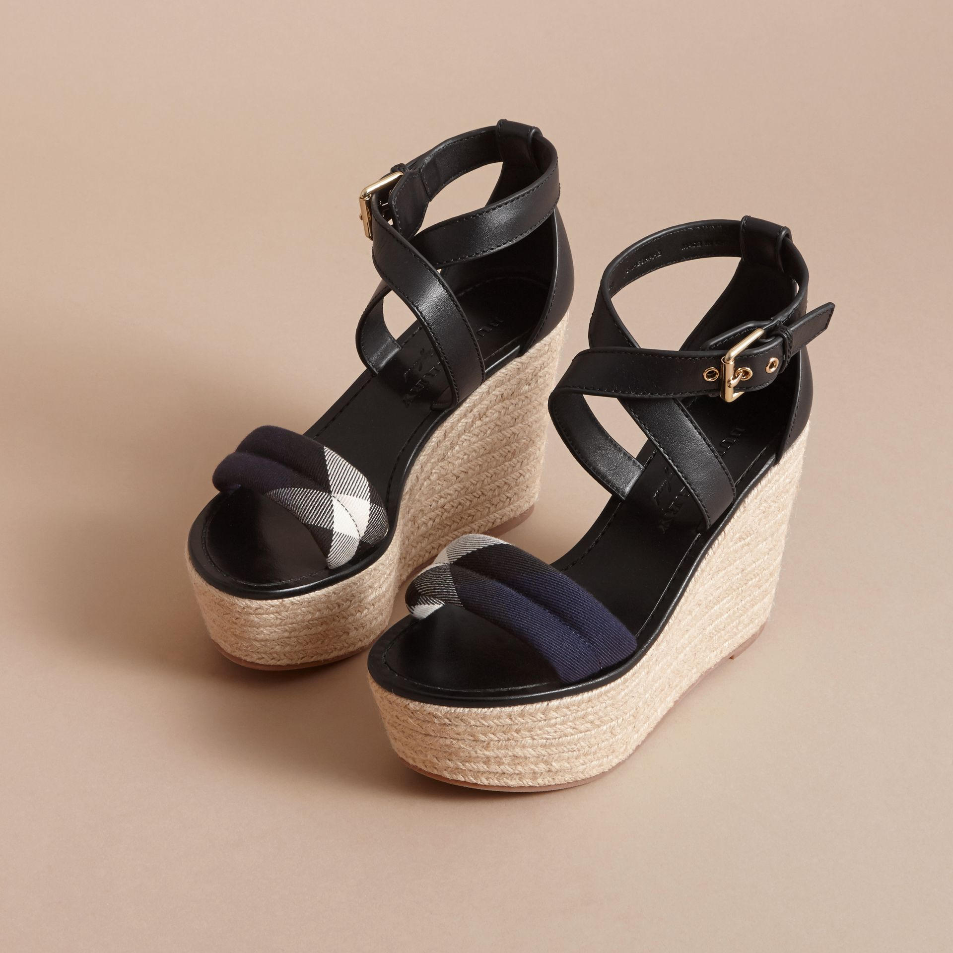 Leather and House Check Platform Espadrille Wedge Sandals Navy - gallery image 4
