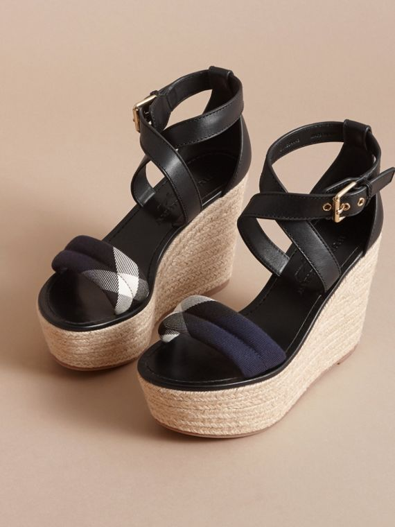 Leather and House Check Platform Espadrille Wedge Sandals Navy - cell image 3