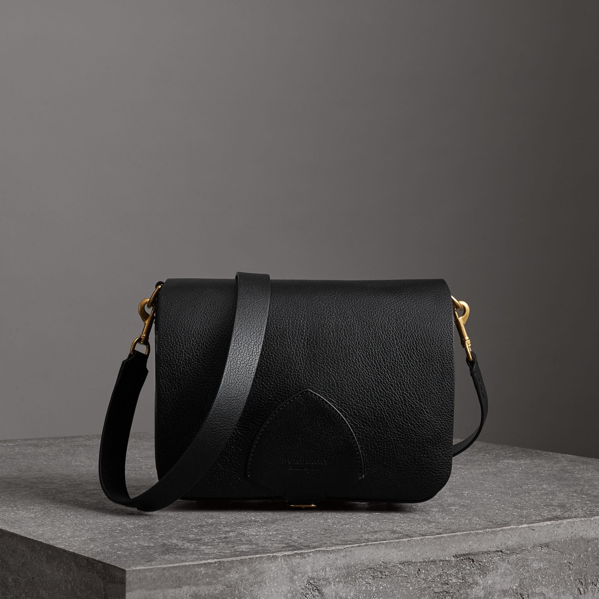 The Large Square Satchel in Leather in Black - Women | Burberry - gallery image 0