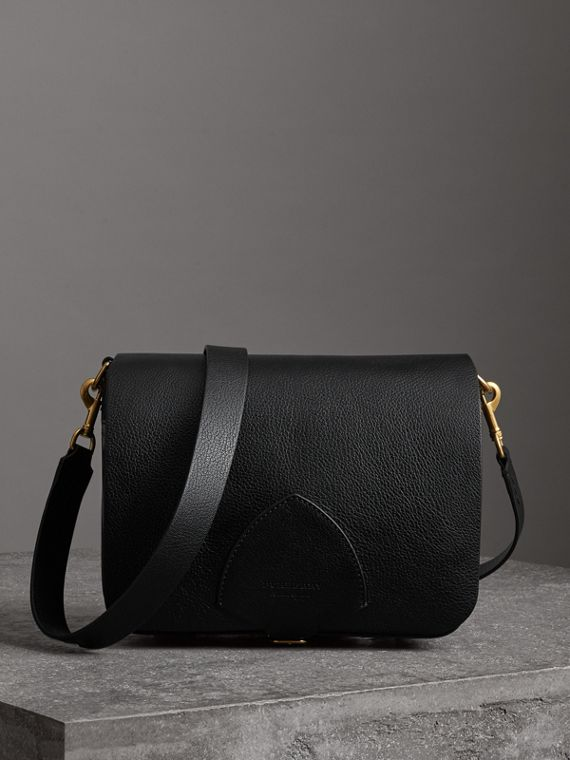 The Large Square Satchel in Leather in Black