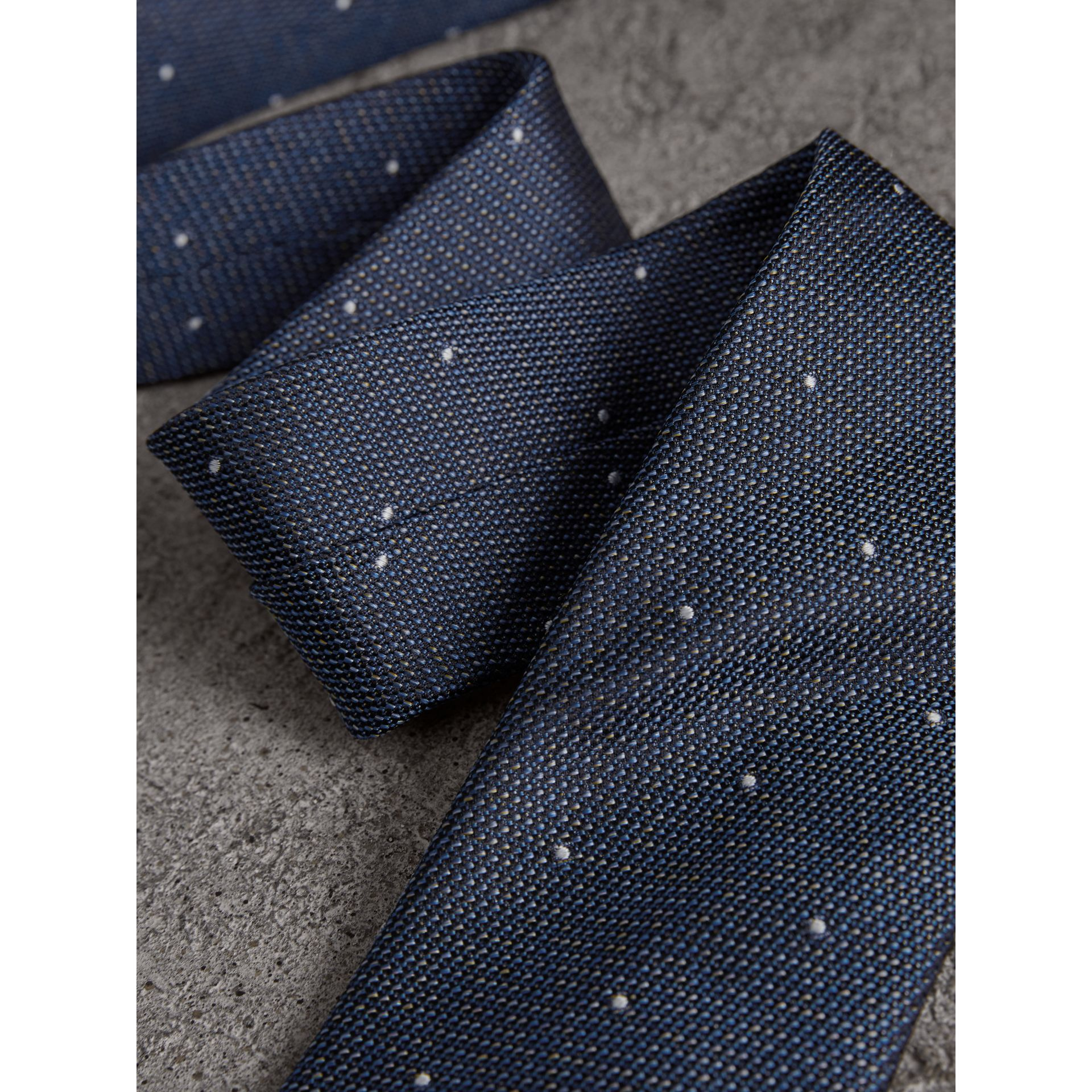 Modern Cut Pin Dot Silk Tie in Steel Blue - Men | Burberry United Kingdom - gallery image 1