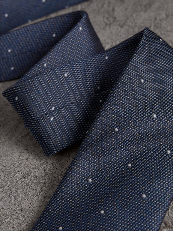 Modern Cut Pin Dot Silk Tie in Steel Blue - Men | Burberry United States - cell image 1