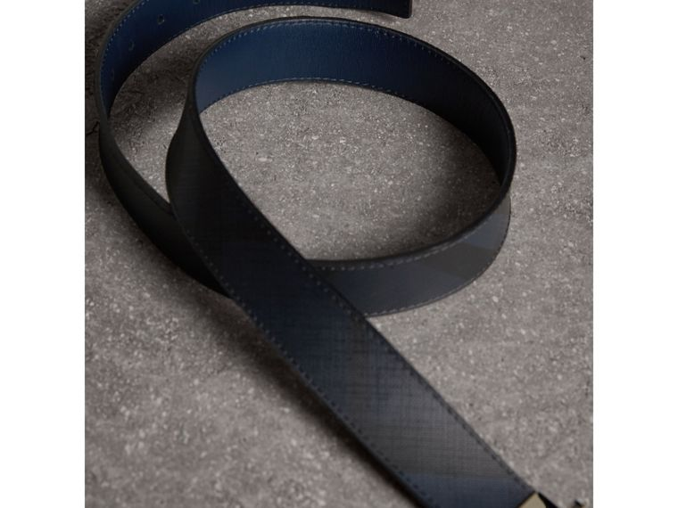 Reversible London Check and Leather Belt in Navy/black - Men | Burberry Canada - cell image 4