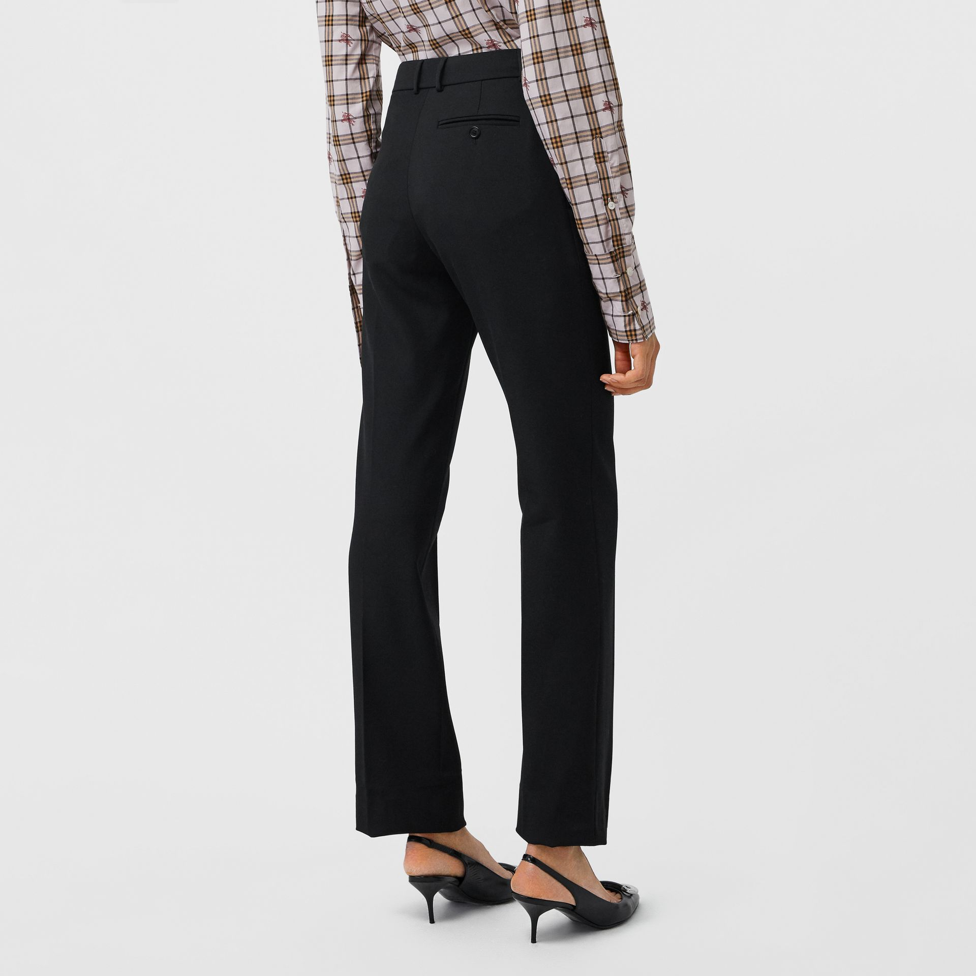 Straight Fit Stretch Wool Tailored Trousers in Black - Women | Burberry - gallery image 2