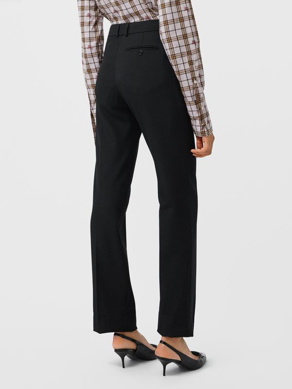 Straight Fit Stretch Wool Tailored Trousers in Black - Women | Burberry - cell image 2