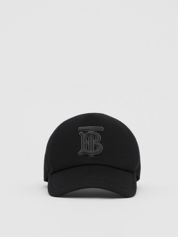 Monogram Motif Neoprene Baseball Cap in Black