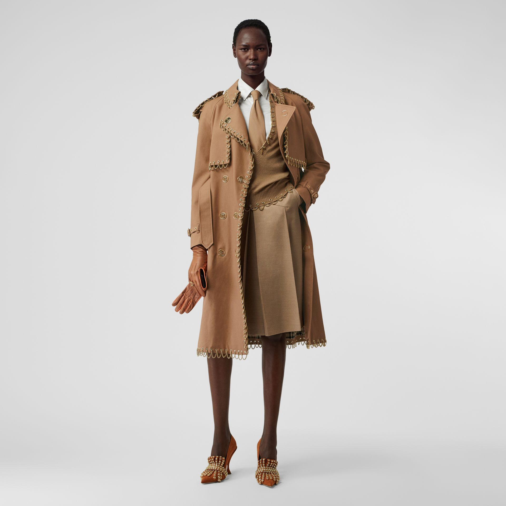 Chain Detail Cotton Gabardine Trench Coat in Warm Walnut - Women | Burberry - gallery image 1