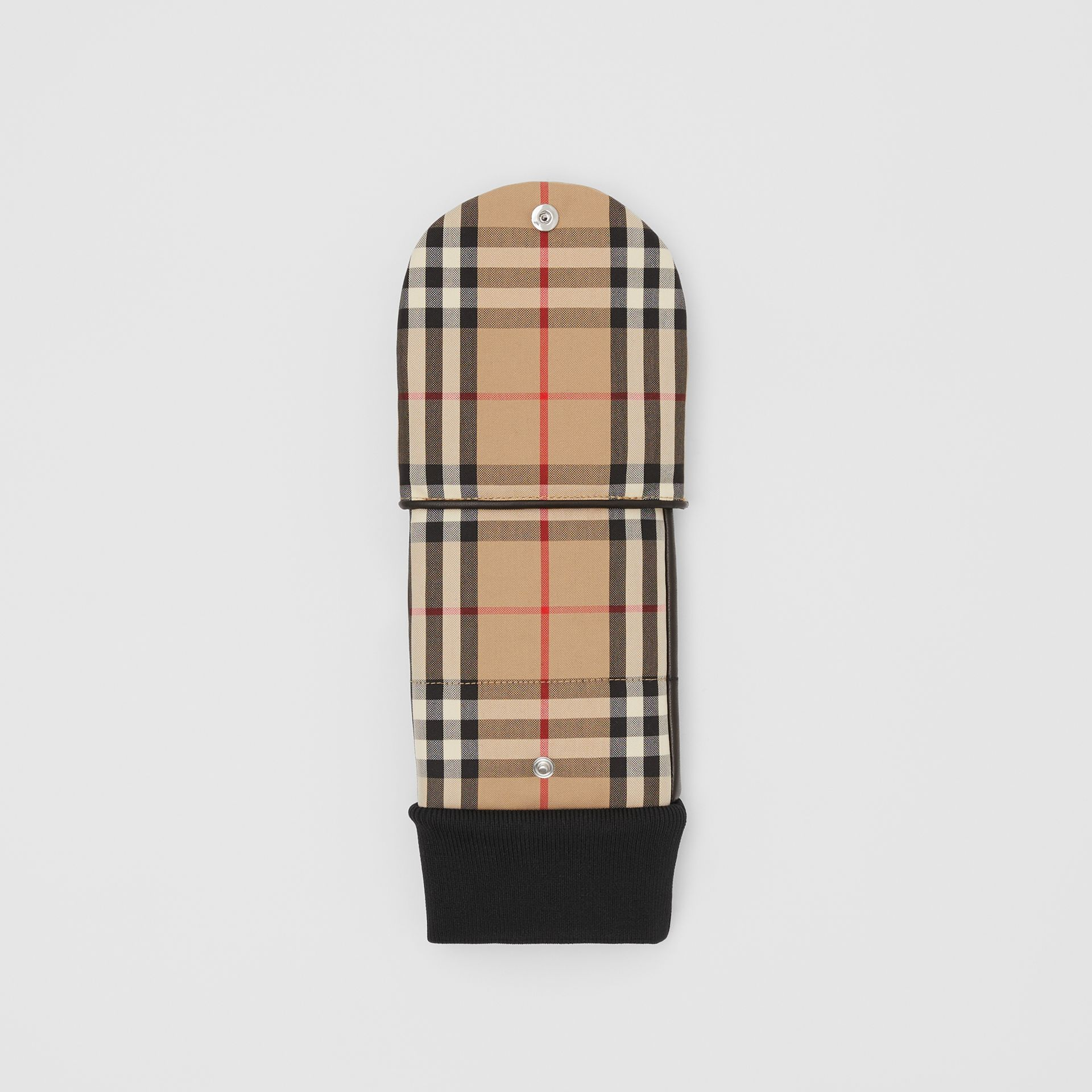 Logo Appliqué Lambskin and Vintage Check Mittens in Archive Beige | Burberry United Kingdom - gallery image 4