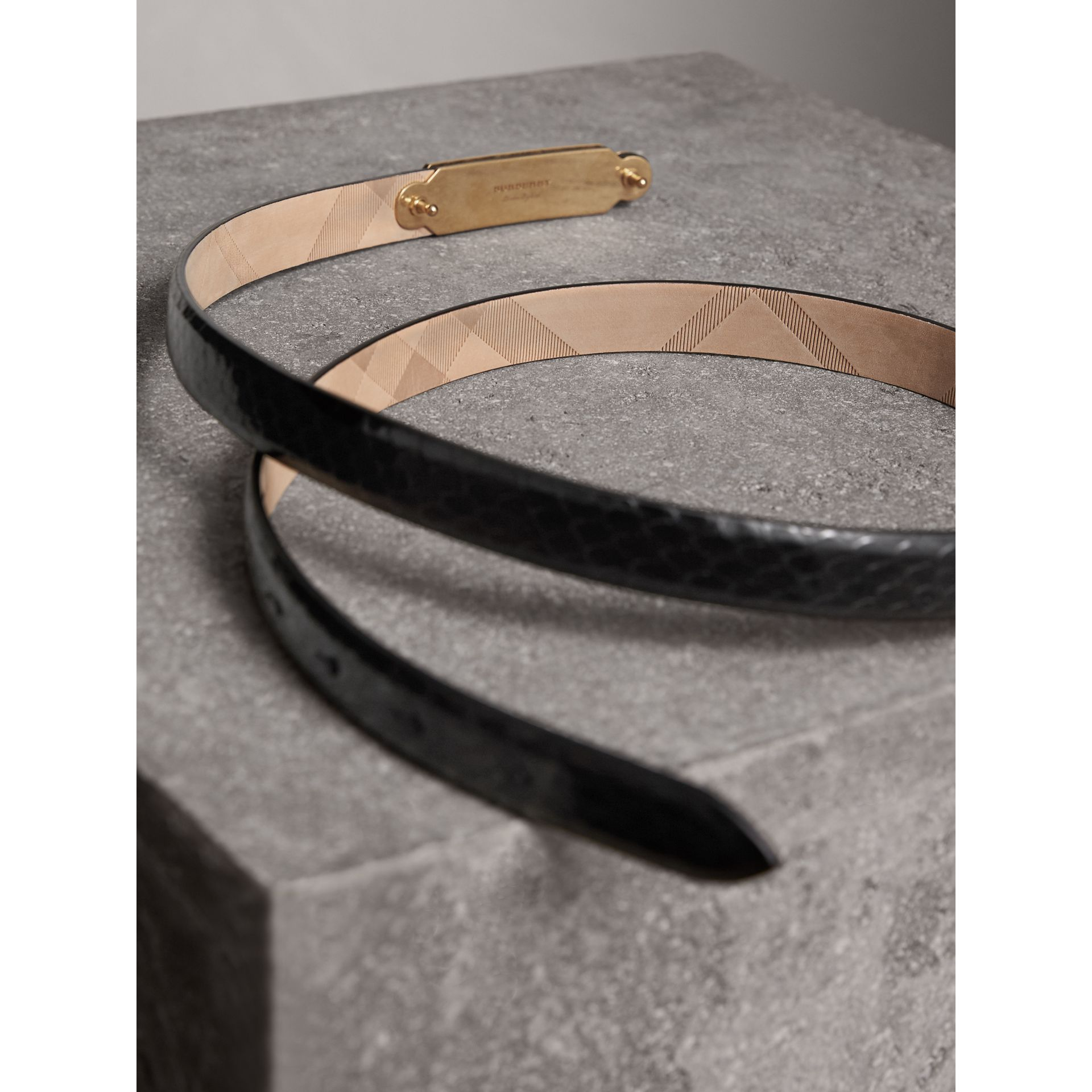 Brass Plaque Buckle Python Belt in Black - Women | Burberry United Kingdom - gallery image 3