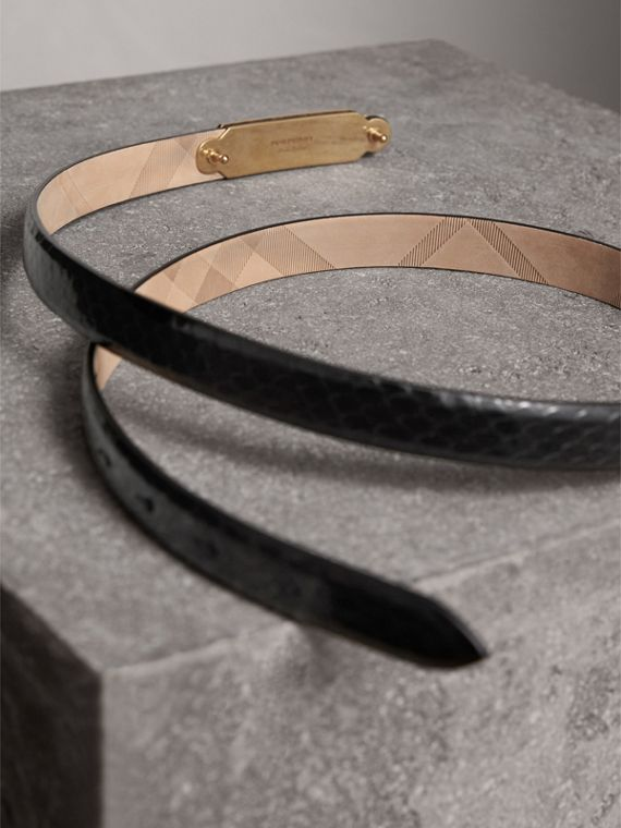 Brass Plaque Buckle Python Belt in Black - Women | Burberry United Kingdom - cell image 3