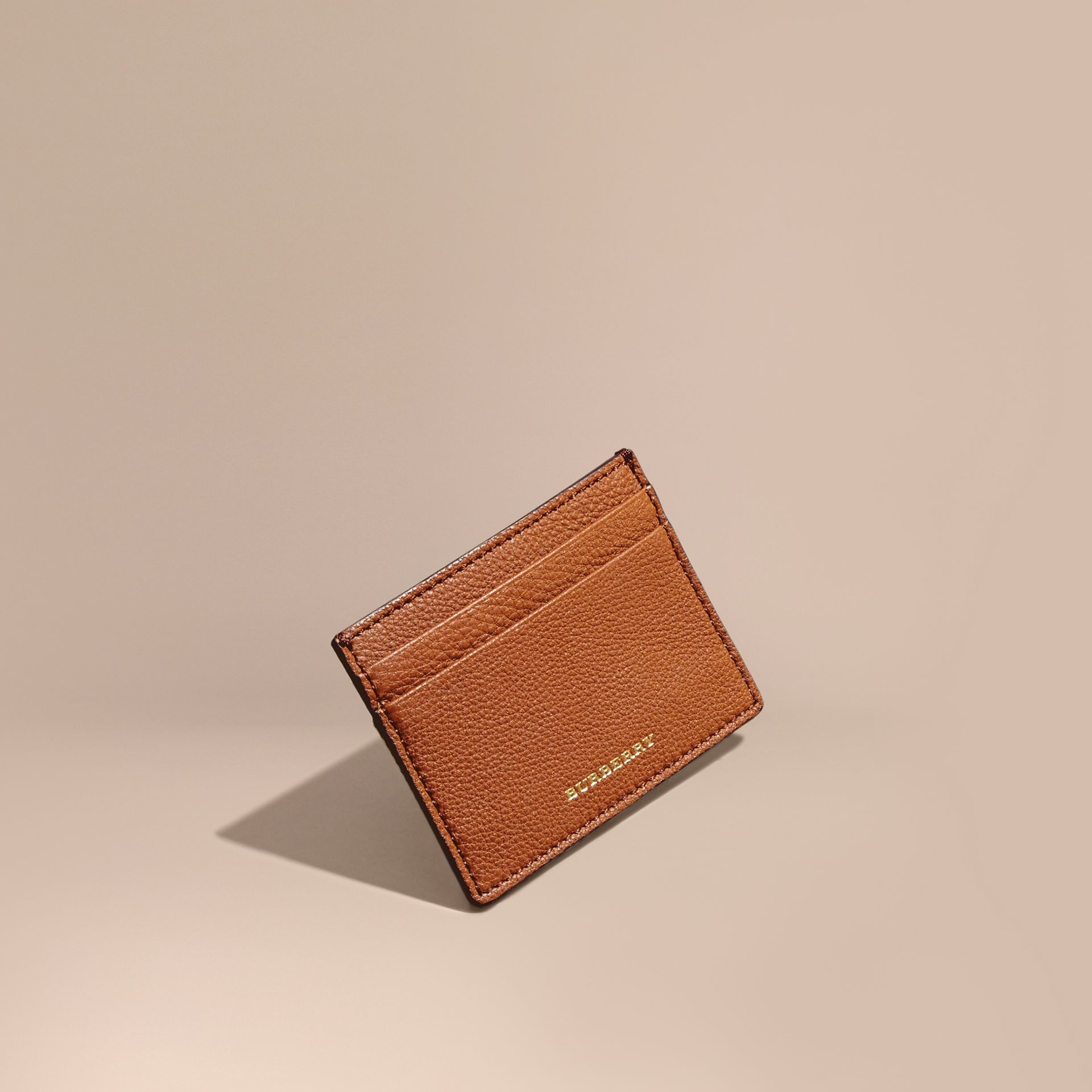 House Check and Grainy Leather Card Case Russet - gallery image 1