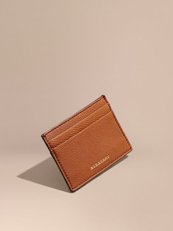 House Check and Grainy Leather Card Case Russet