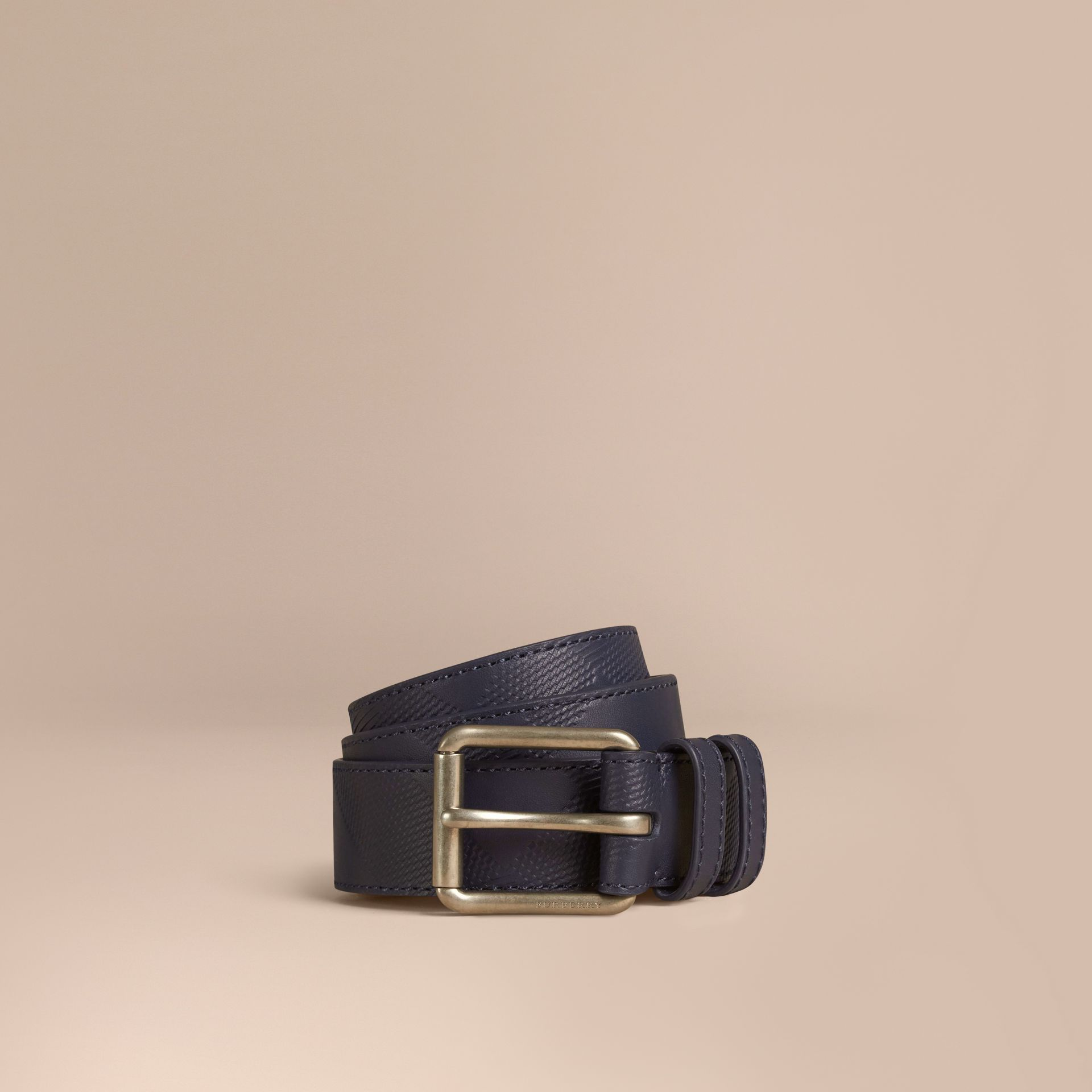 Bright navy Check-Embossed Leather Belt - gallery image 1