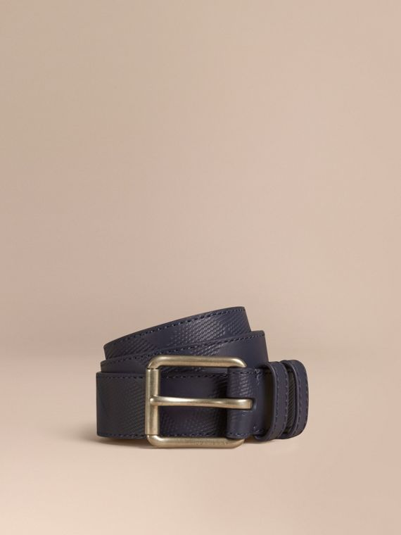 Check-Embossed Leather Belt Bright Navy