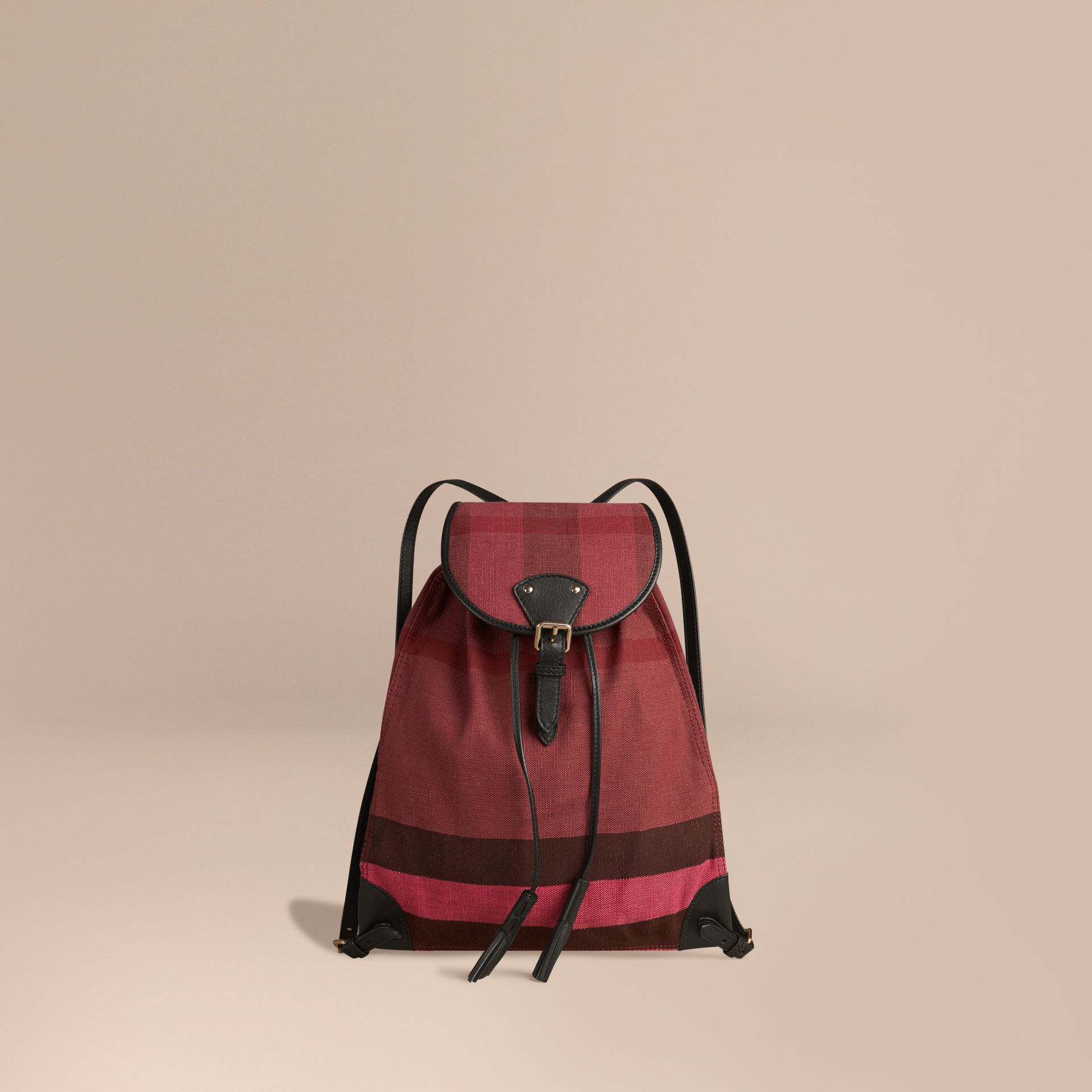 Plum Overdyed Canvas Check Backpack Plum - gallery image 1