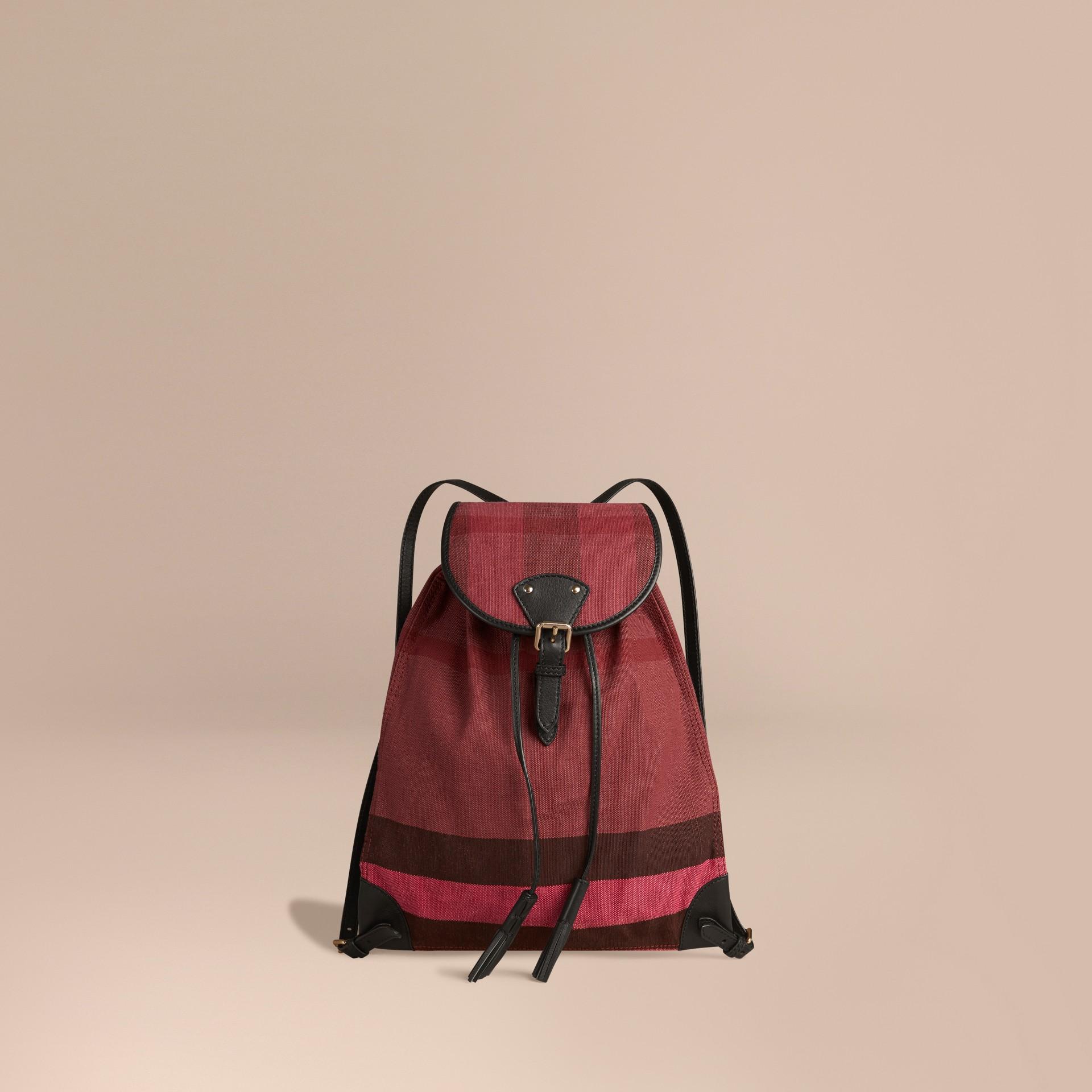 Pflaumenfarben Rucksack mit überfärbtem Canvas Check-Muster Pflaumenfarben - Galerie-Bild 1