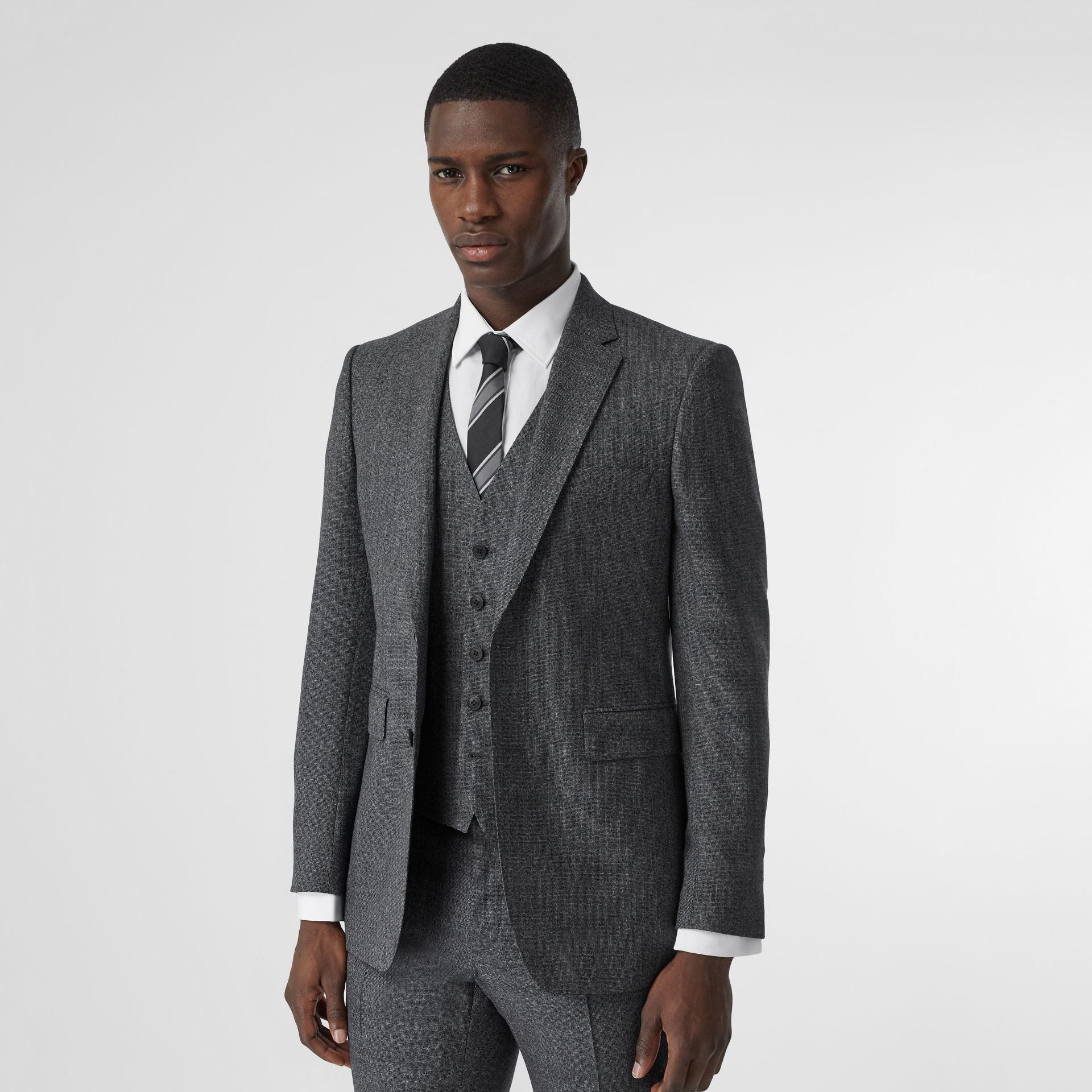 Classic Fit Melange Wool Three-piece Suit in Charcoal - Men | Burberry - gallery image 4