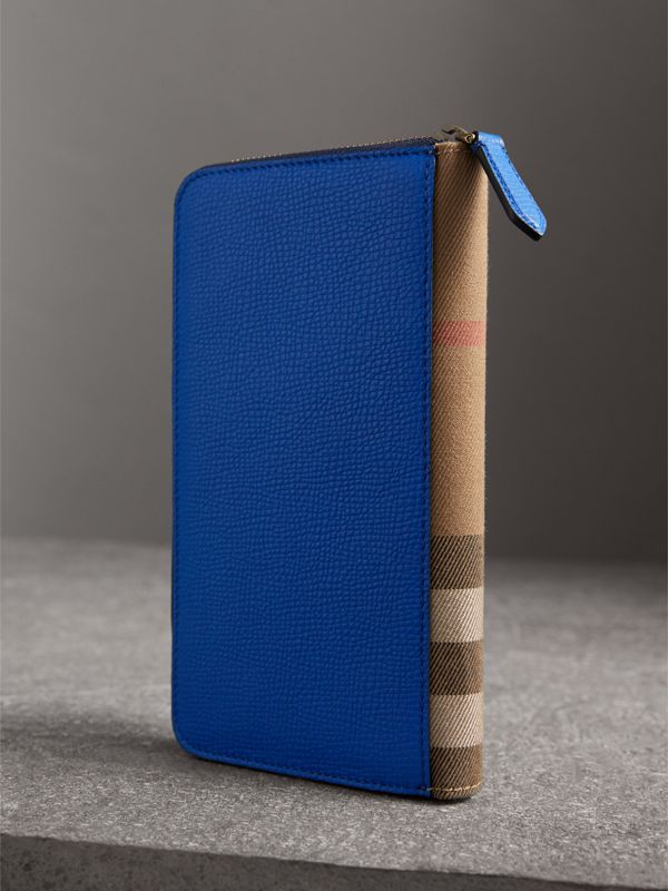 House Check and Grainy Leather Ziparound Wallet in Deep Blue | Burberry - cell image 2