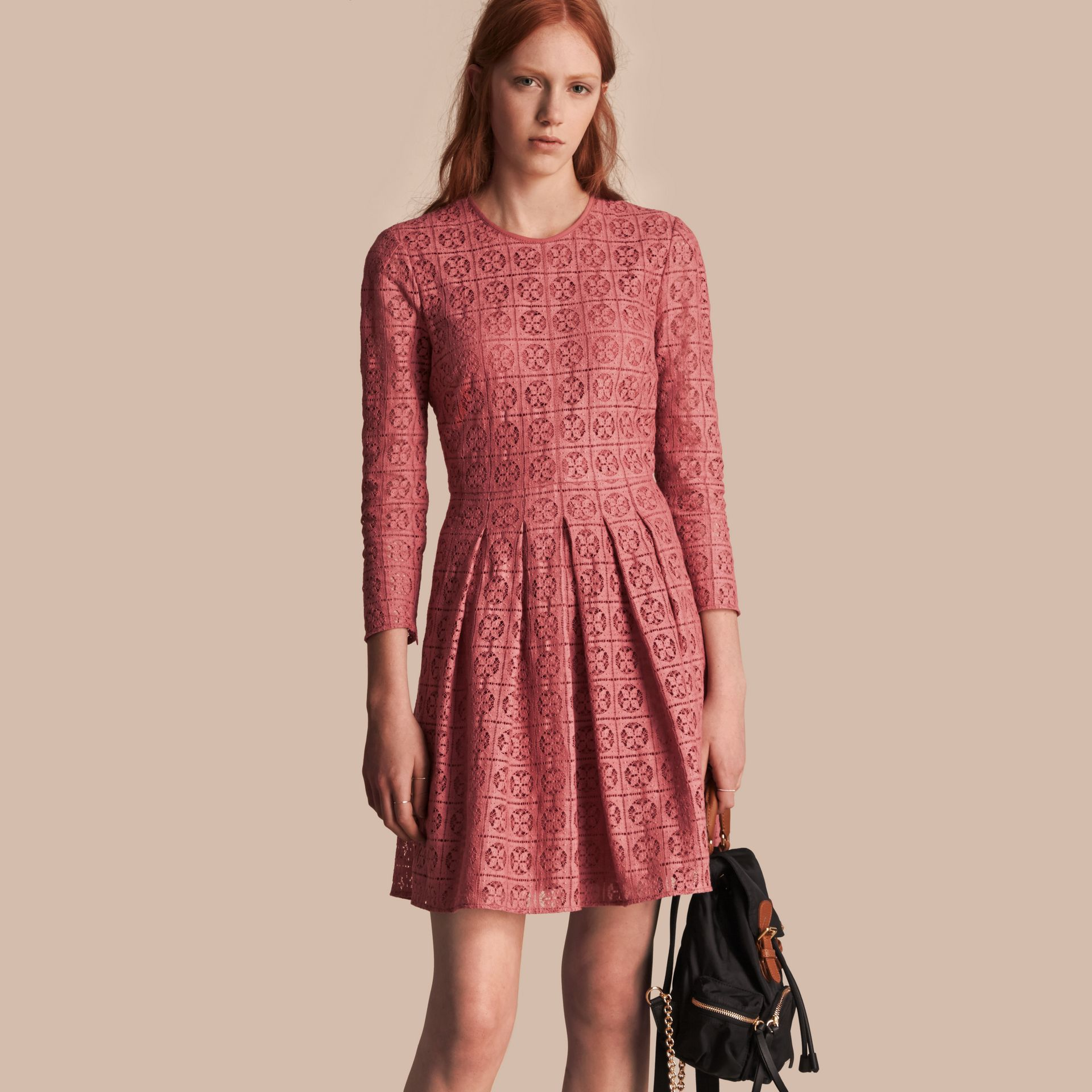 Dusty peony rose Lace Fit and Flare Dress - gallery image 1