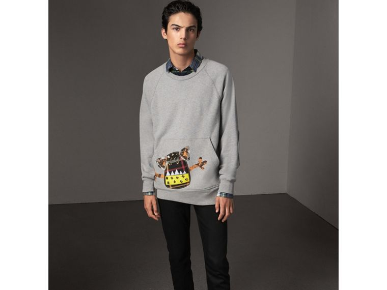 Creature Motif Jersey Sweatshirt in Pale Grey Melange - Men | Burberry - cell image 4