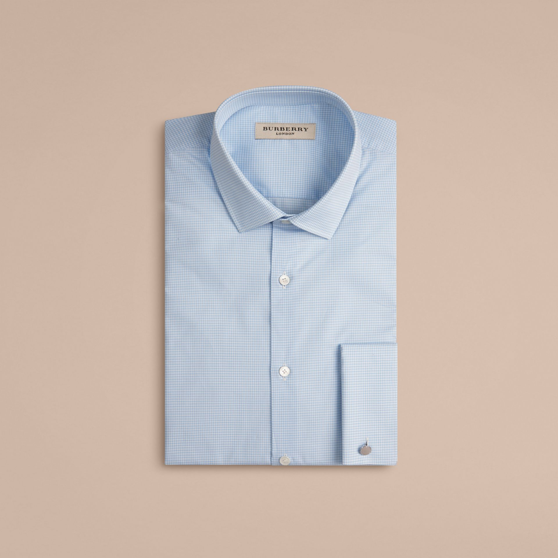 City blue Slim Fit Double-cuff Gingham Cotton Poplin Shirt - gallery image 4
