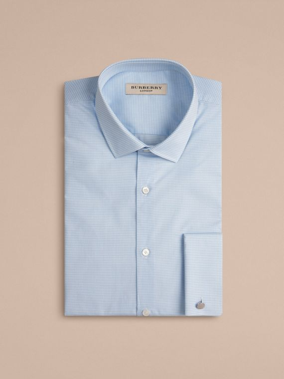 City blue Slim Fit Double-cuff Gingham Cotton Poplin Shirt - cell image 3