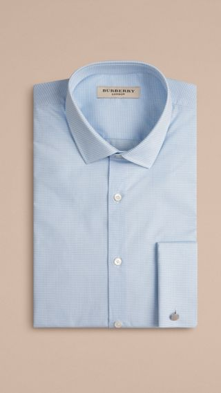 Slim Fit Double-cuff Gingham Cotton Poplin Shirt