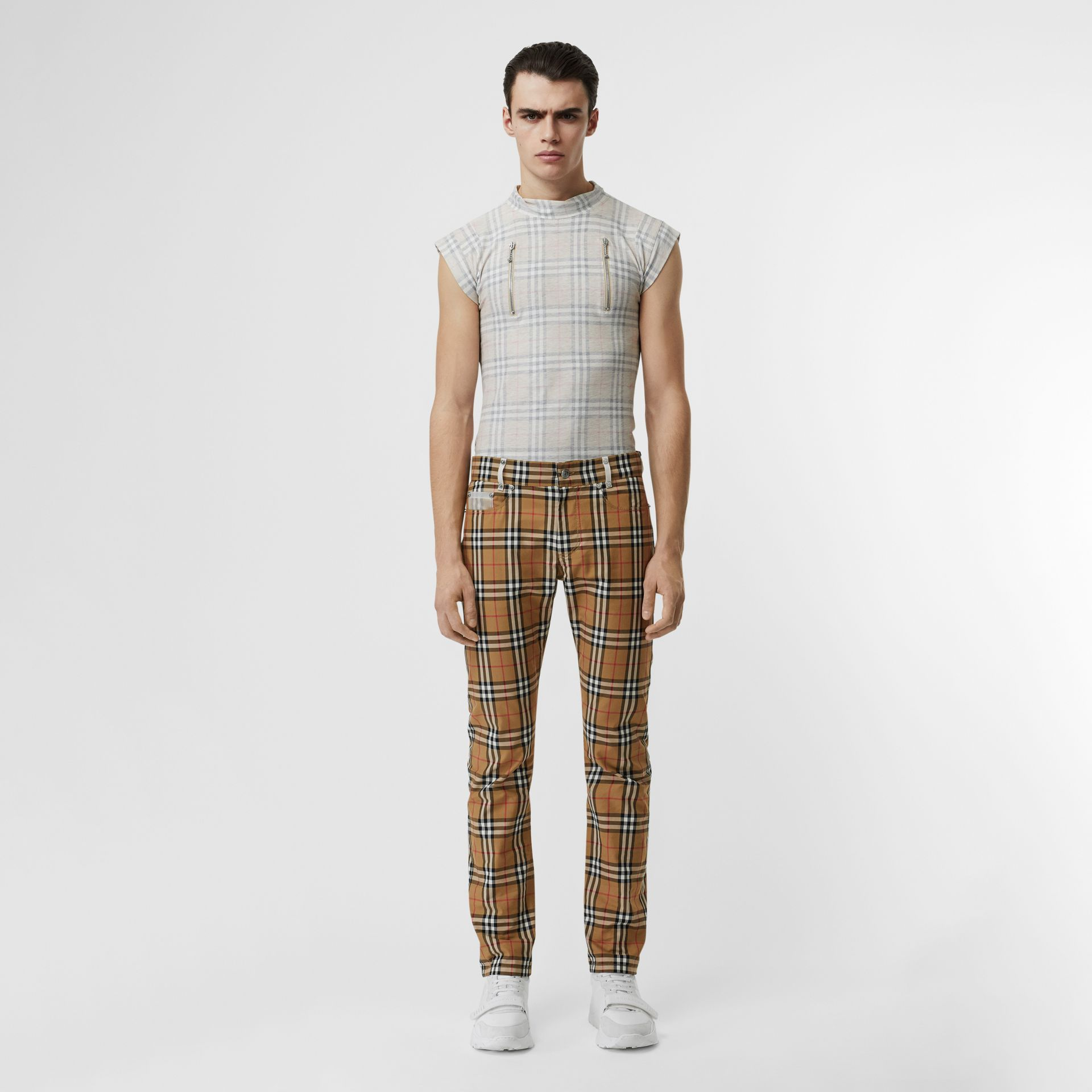 Zip Detail Vintage Check Cotton T-shirt in Antique Yellow | Burberry - gallery image 7