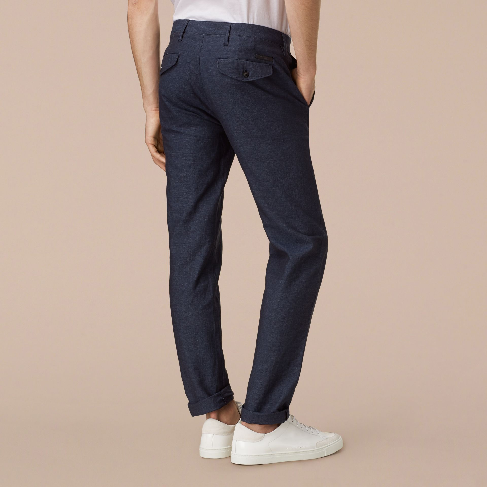 Navy Slim Fit Linen Cotton Trousers - gallery image 3
