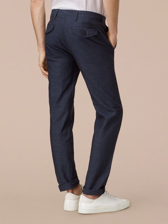 Navy Slim Fit Linen Cotton Trousers - cell image 2
