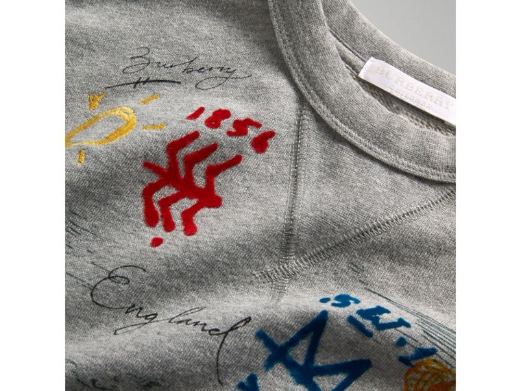 Short-sleeve Adventure Motif Cotton Jersey Sweatshirt in Grey Melange - Boy | Burberry - cell image 1