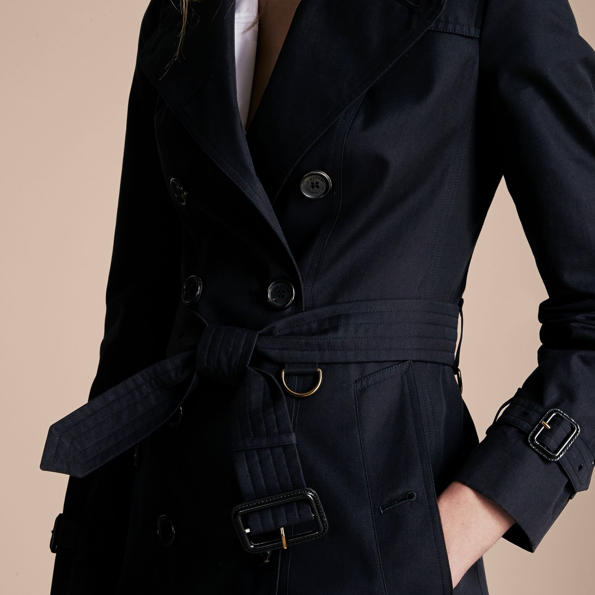 Navy The Sandringham – Short Heritage Trench Coat Navy - gallery image 5