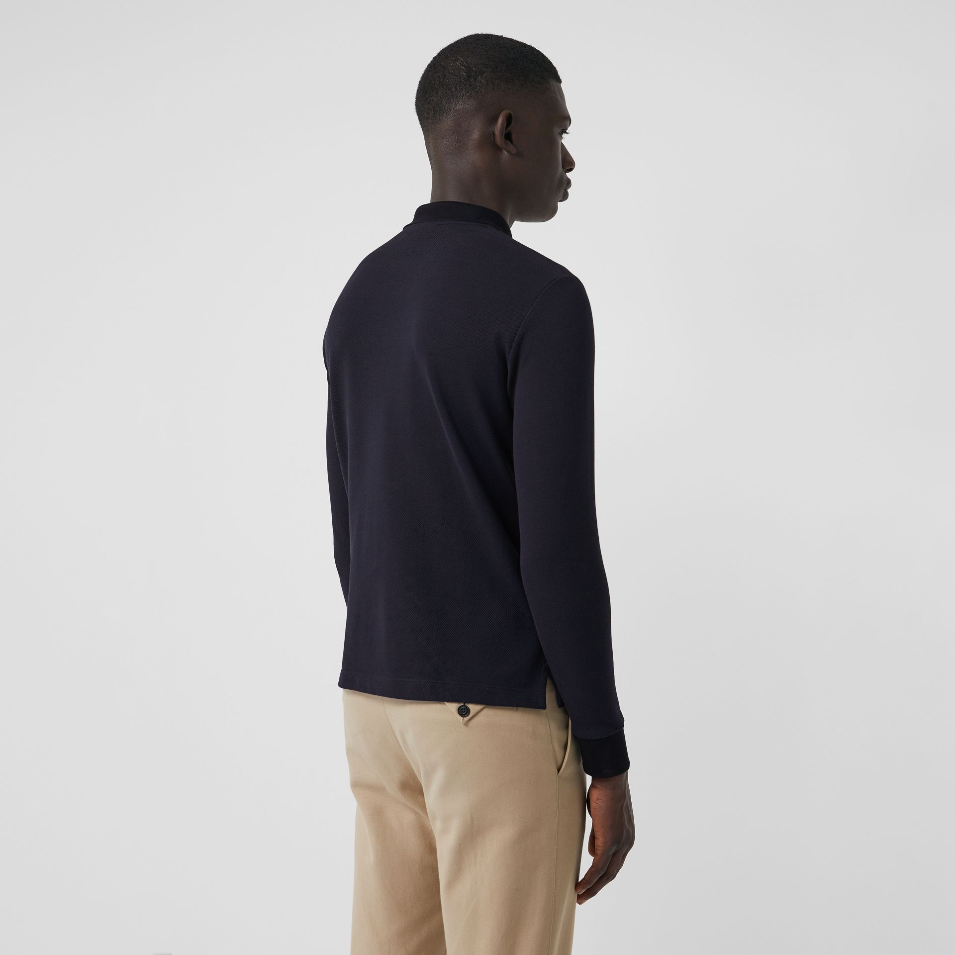 Long-sleeve Cotton Piqué Polo Shirt in Navy - Men | Burberry United Kingdom - gallery image 2