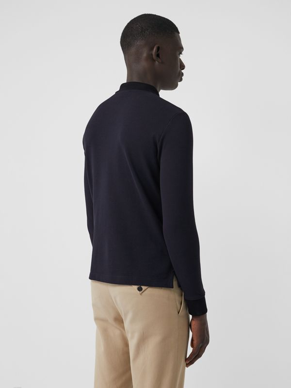 Long-sleeve Cotton Piqué Polo Shirt in Navy - Men | Burberry Australia - cell image 2