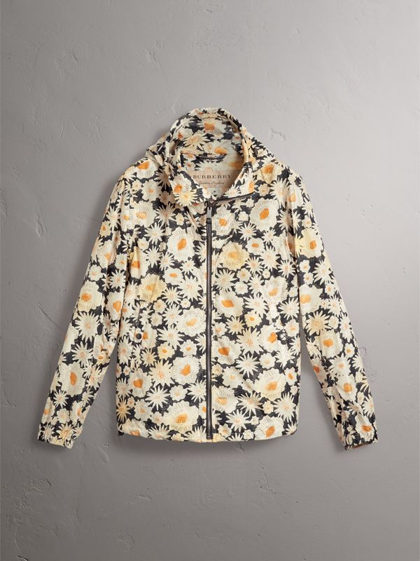 Daisy Print Lightweight Technical Hooded Jacket in Black - Men | Burberry - cell image 3