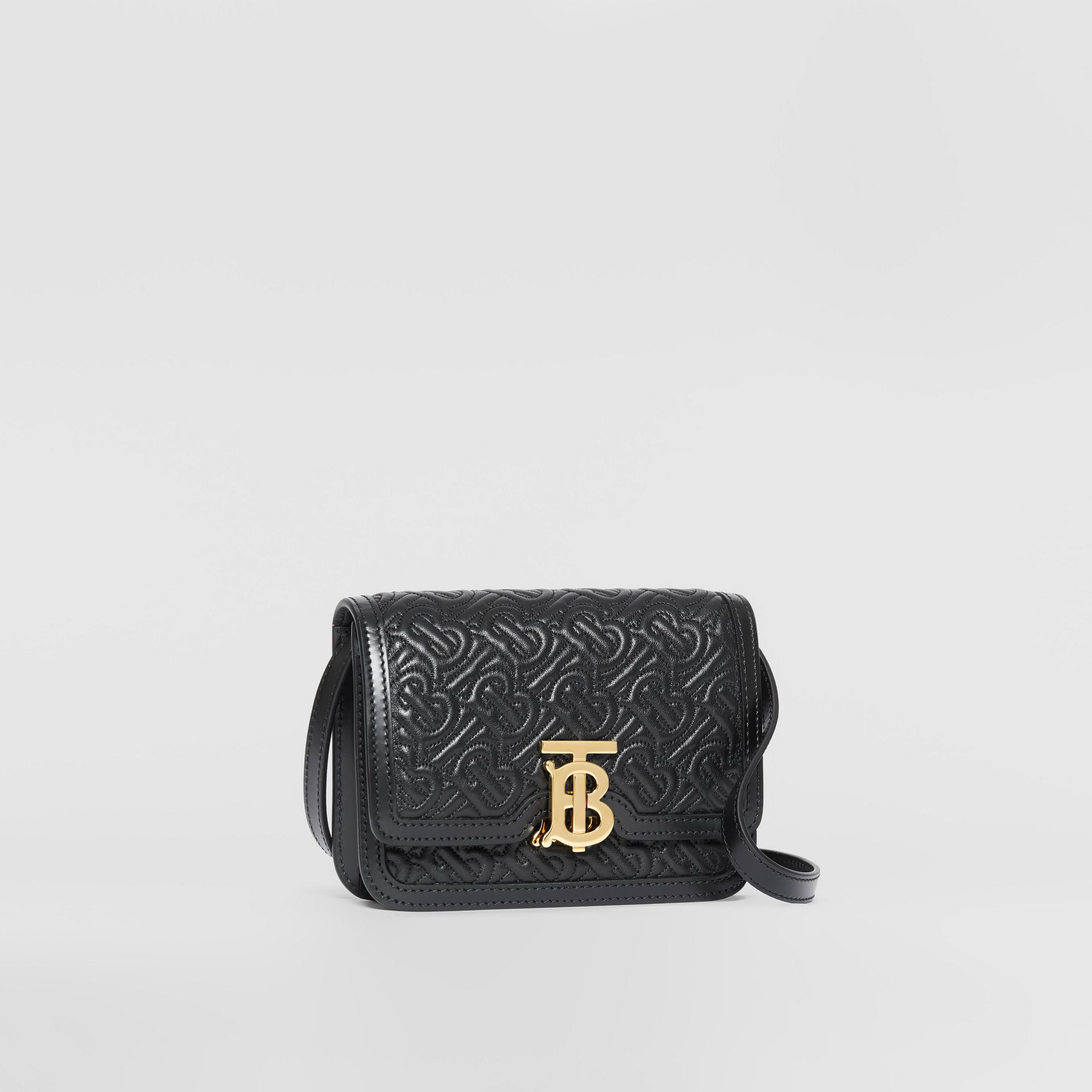 Mini Quilted Monogram Lambskin TB Bag in Black - Women | Burberry United Kingdom - gallery image 4