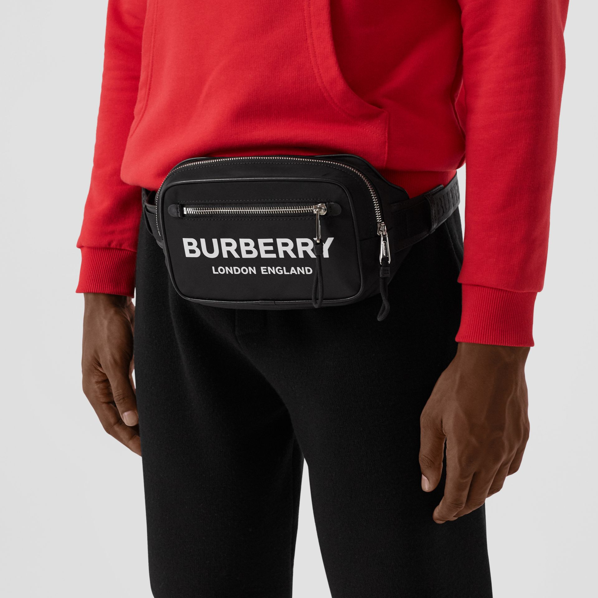 Logo Print ECONYL® Bum Bag in Black - Men | Burberry Australia - gallery image 3