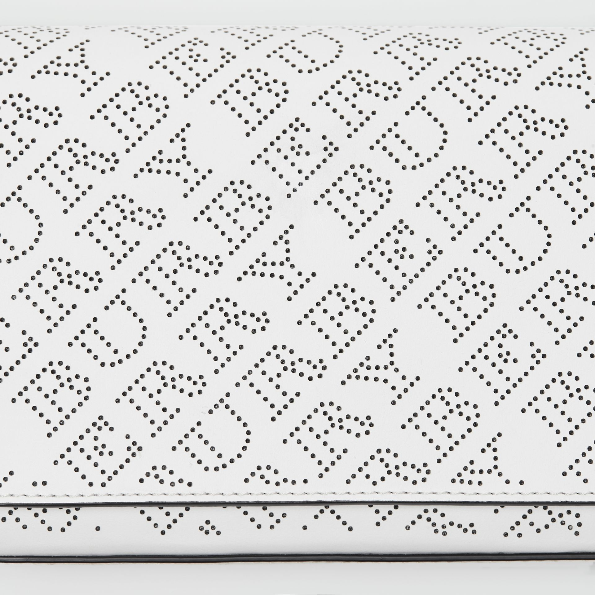 Perforated Logo Leather Wallet with Detachable Strap in White - Women | Burberry - gallery image 1