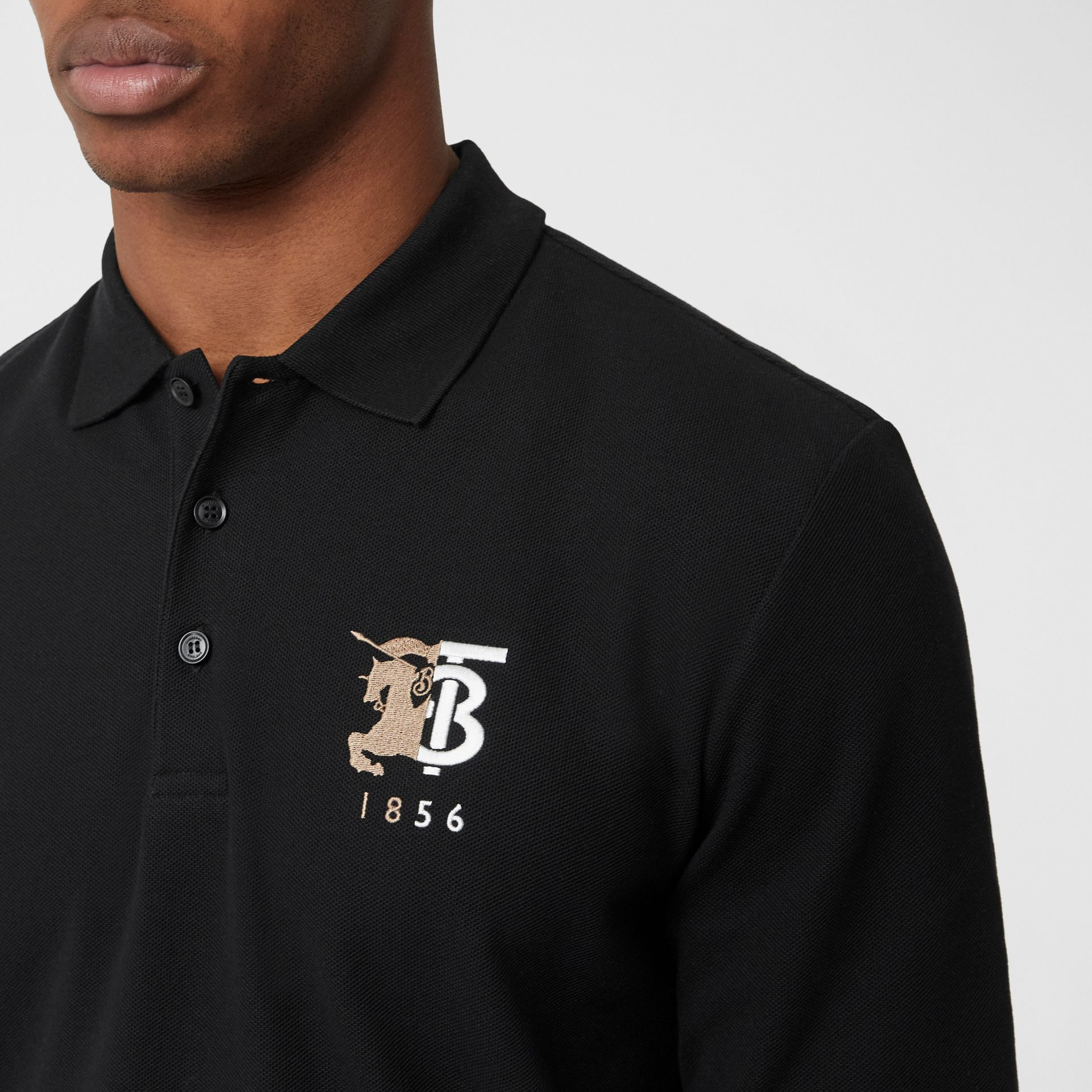 Long-sleeve Contrast Logo Graphic Cotton Polo Shirt in Black - Men   Burberry - gallery image 1
