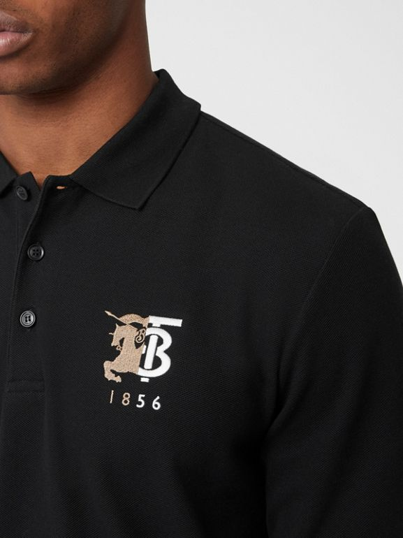 Long-sleeve Contrast Logo Graphic Cotton Polo Shirt in Black - Men   Burberry - cell image 1