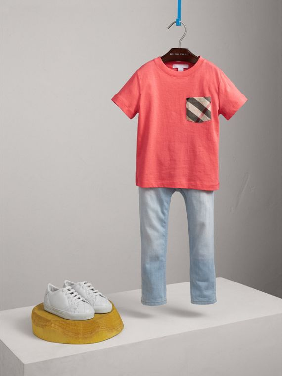 Check Pocket Cotton T-shirt in Bright Coral Pink