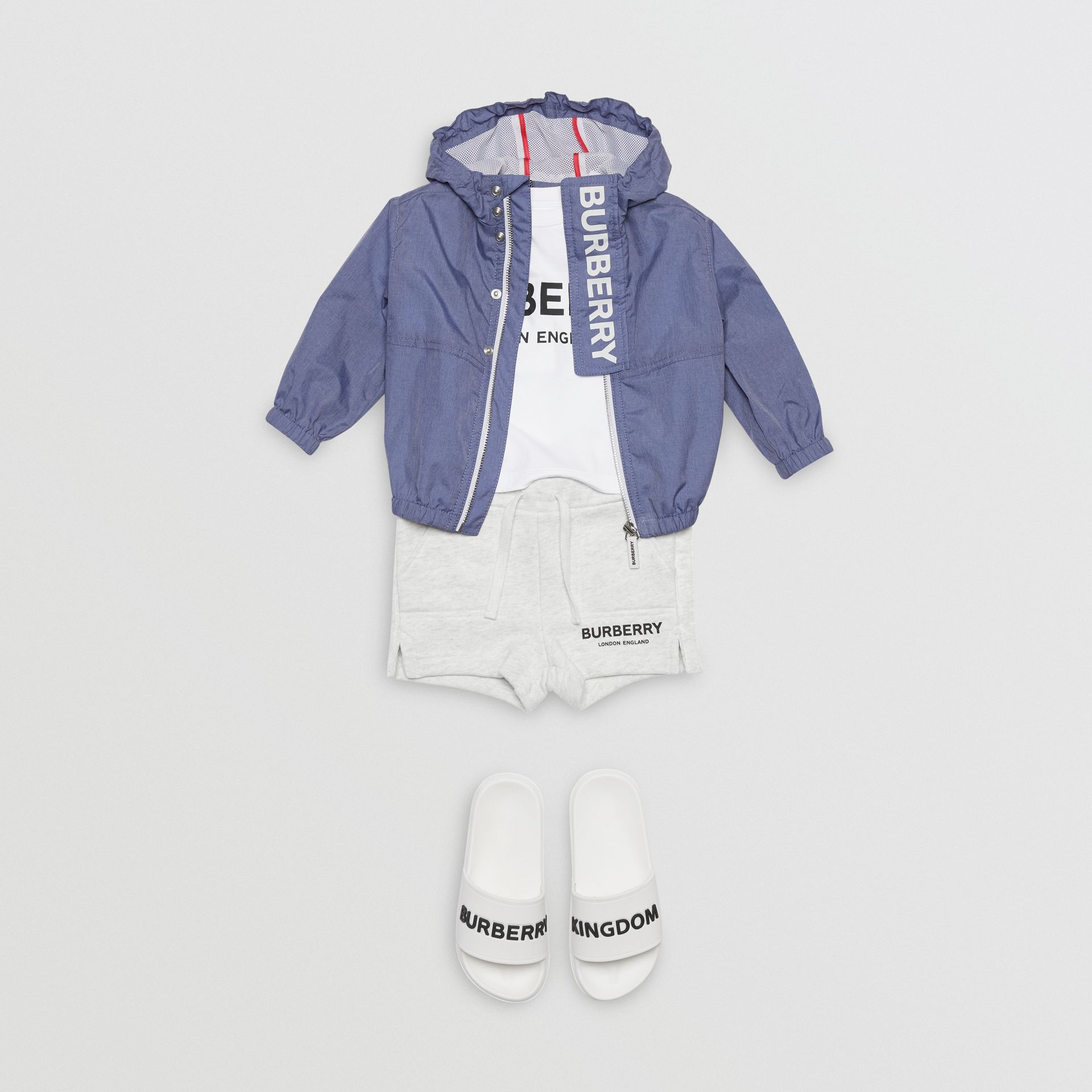 Logo Print Lightweight Hooded Jacket in Sapphire Blue - Children | Burberry - gallery image 2