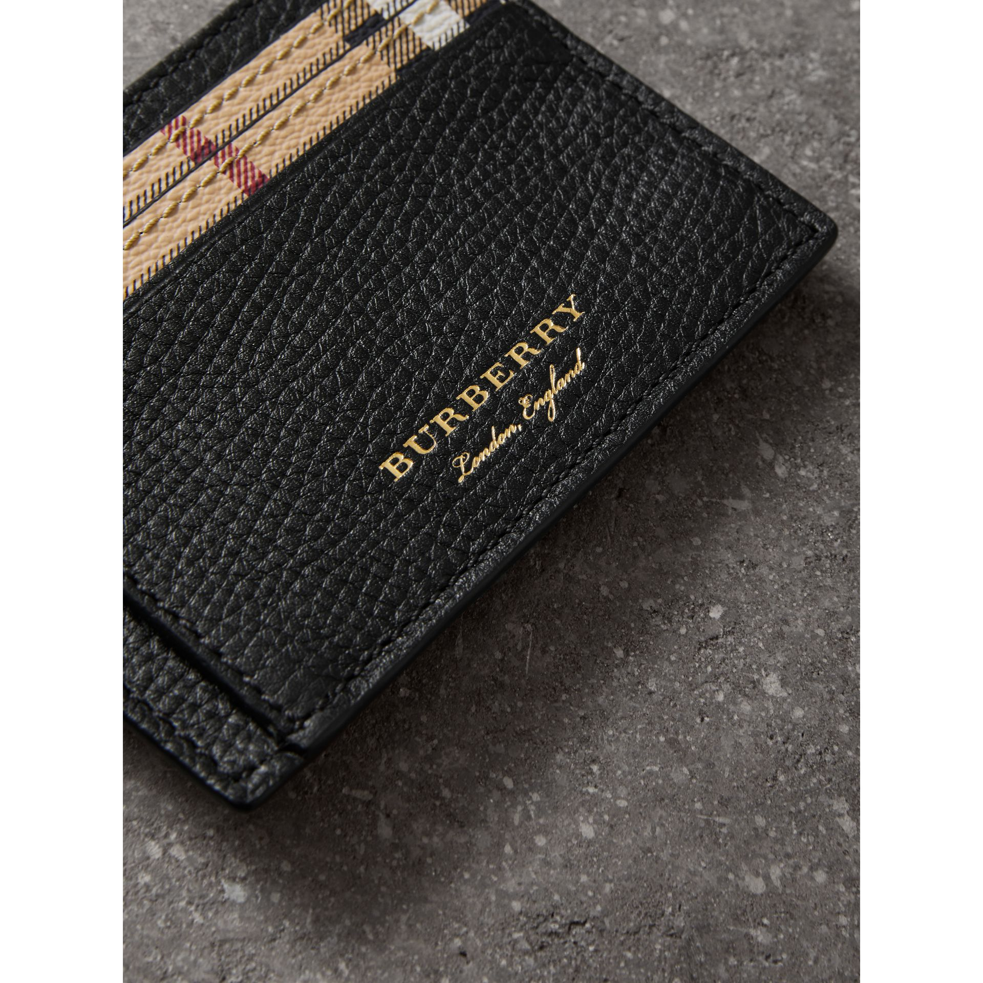 Haymarket Check and Leather Card Case in Black - Men | Burberry Hong Kong - gallery image 1