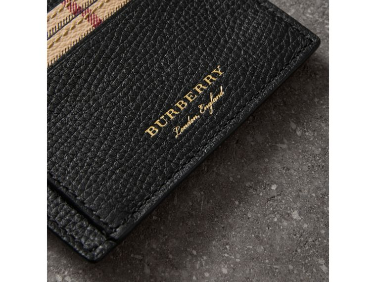 Haymarket Check and Leather Card Case in Black - Men | Burberry - cell image 1