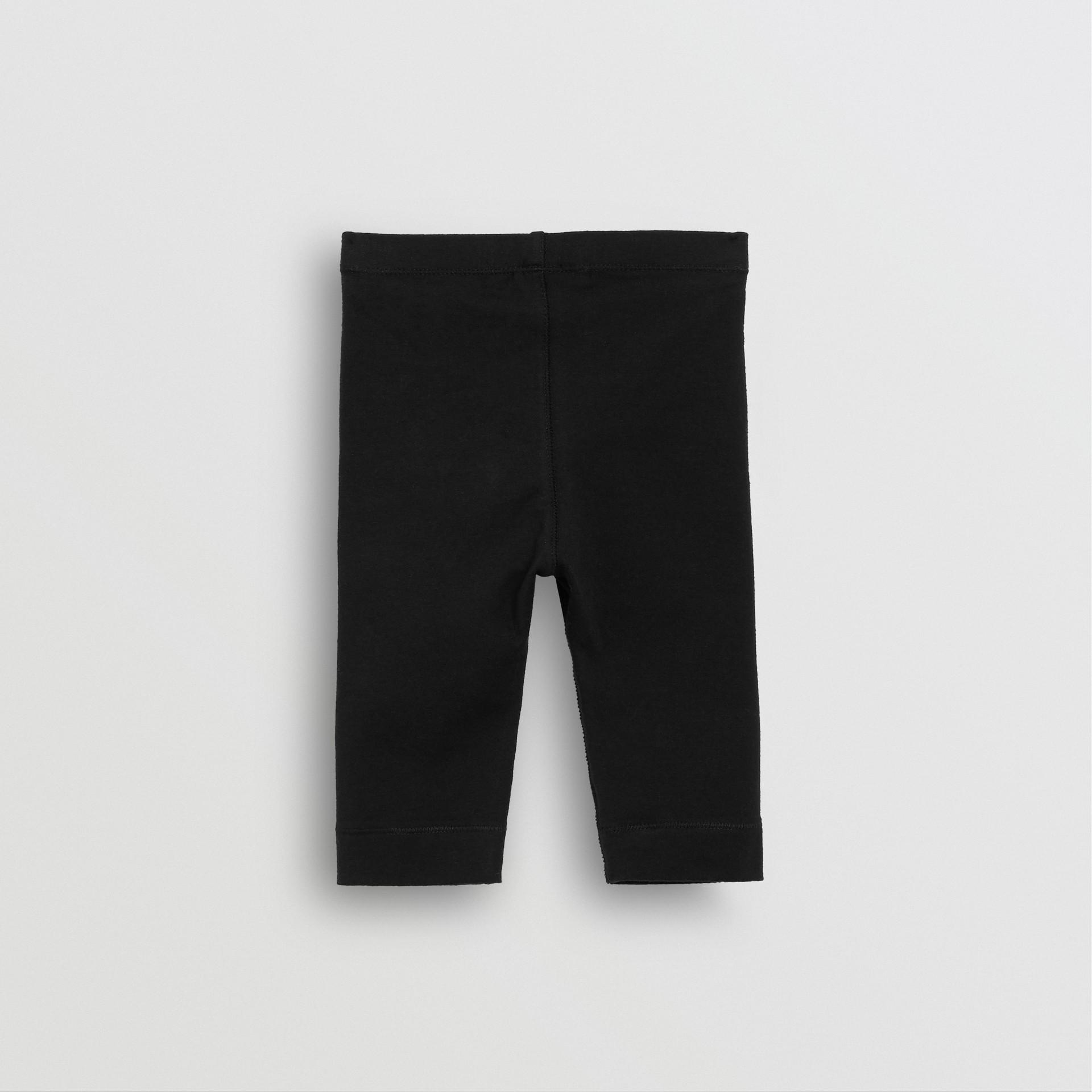 Logo Detail Stretch Cotton Leggings in Black - Children | Burberry - gallery image 3