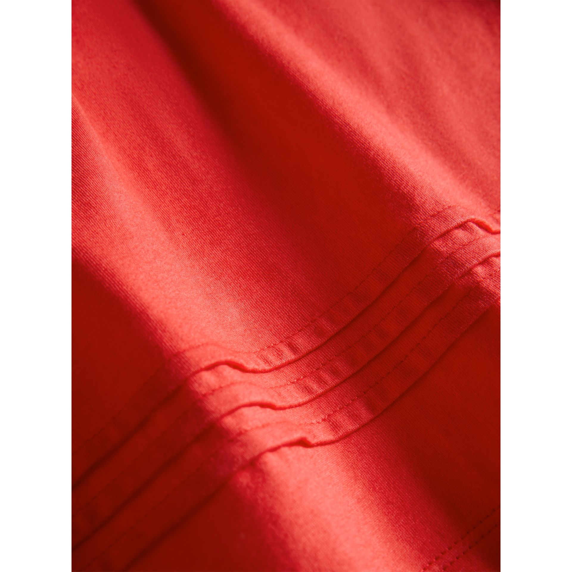 Pleat and Check Detail Cotton T-shirt in Bright Orange Red - Girl | Burberry - gallery image 1